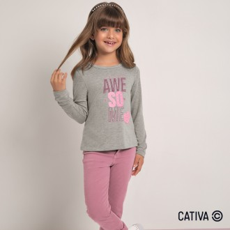 Imagem - (C60417) Blusa em Viscose Feminino Infantil Cativa ref: C60417