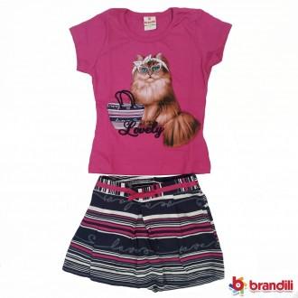 Imagem - (24274) Conjunto Meia Malha Feminino Infantil Brandili ref: 24274