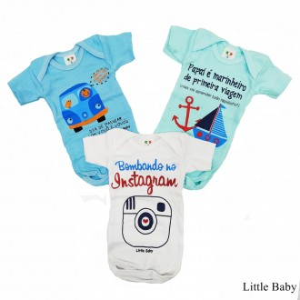 Imagem - (570) KIT C/ 03 Body Infantil SORTIDO Little Baby ref: 570