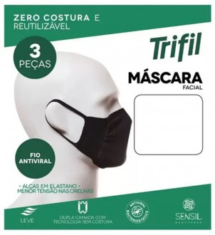 Imagem - (W06117) Kit com 3 Máscaras Faciais Adulto Antiviral - Trifil ref: W06117