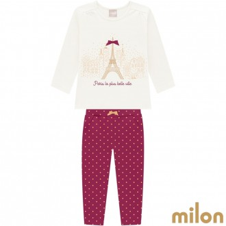 Imagem - (12.928) Conjunto Cotton C/ Moletom Feminino Infantil Milon Kyly ref: 12.928