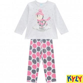 Imagem - (207.520) Pijama Brilha no Escuro Meia Malha Feminino Infantil Kyly ref: 207.520