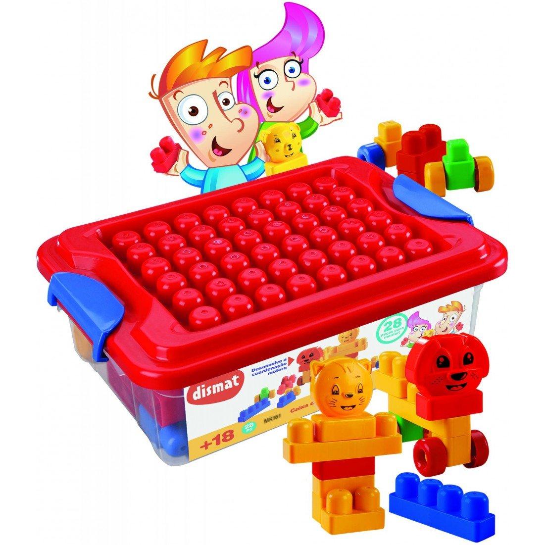 03295ee5a4 Brinquedo Didático Blocos Montar Caixa da Alegria Dismat Zuazen
