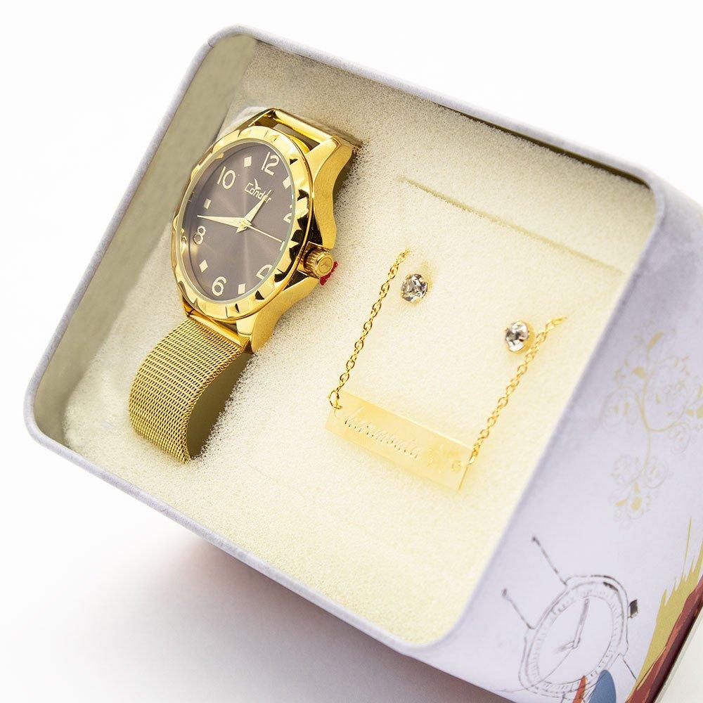 Kit Relógio Condor Feminino Eterna CO2035KSL K4C Dourado 792979f744