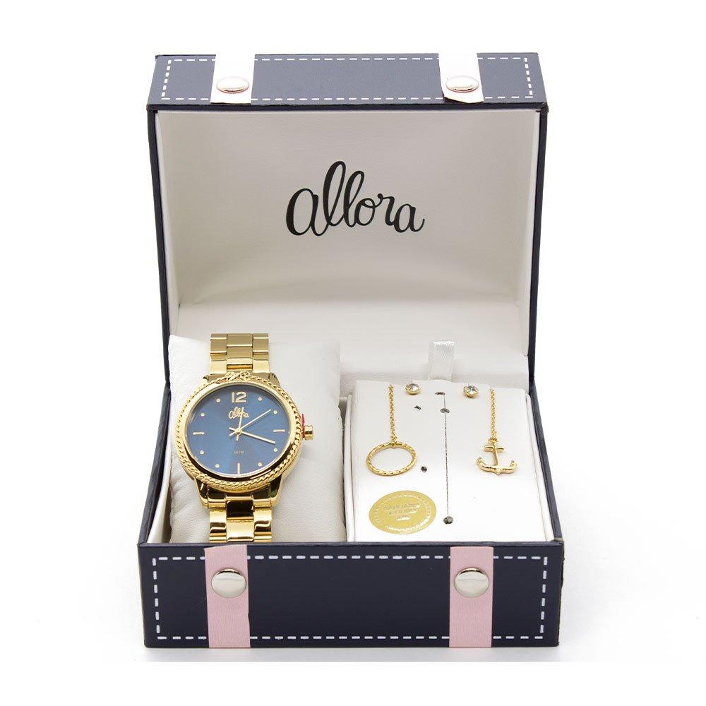 Kit Relógio Allora Coleção Nó de Marinheiro AL2035FDQ K4A Dourado 7866f4afcf