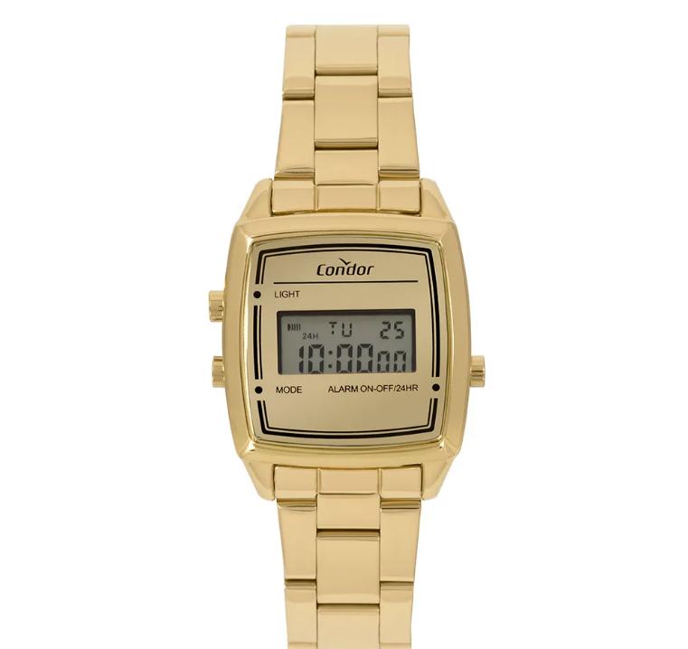 d231da2a16e Relógio Condor Digital Casual Feminino Mini Dourado COJH512AC 4D. Ref.