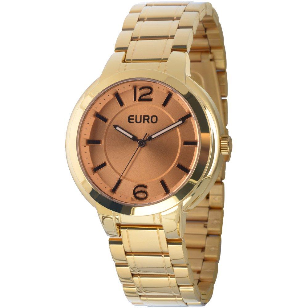51b3cfbb4c2 Relógio Feminino Euro Analógico Fumê Casual EU2035LXO 4K Dourado