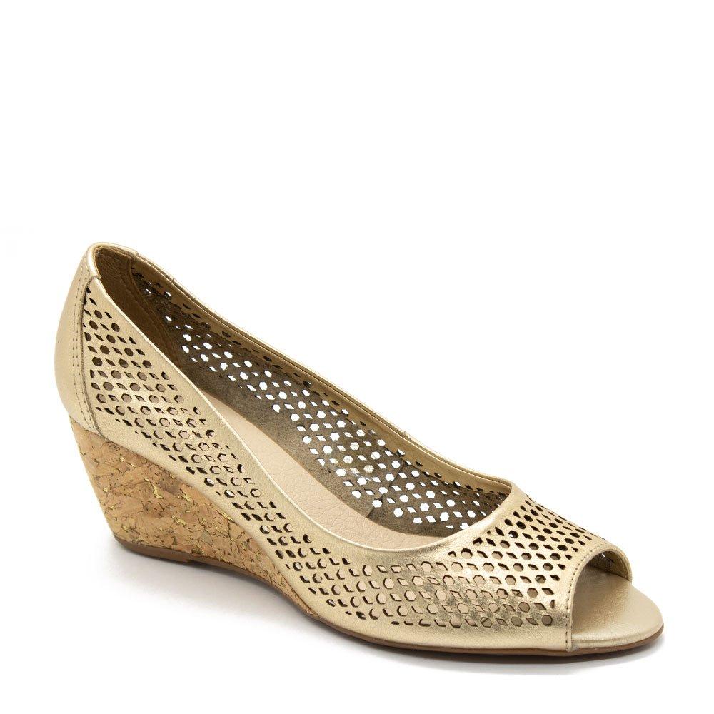 564e3e574a3 Sapato Bottero Peep Toe Anabela Dourado - Zuazen