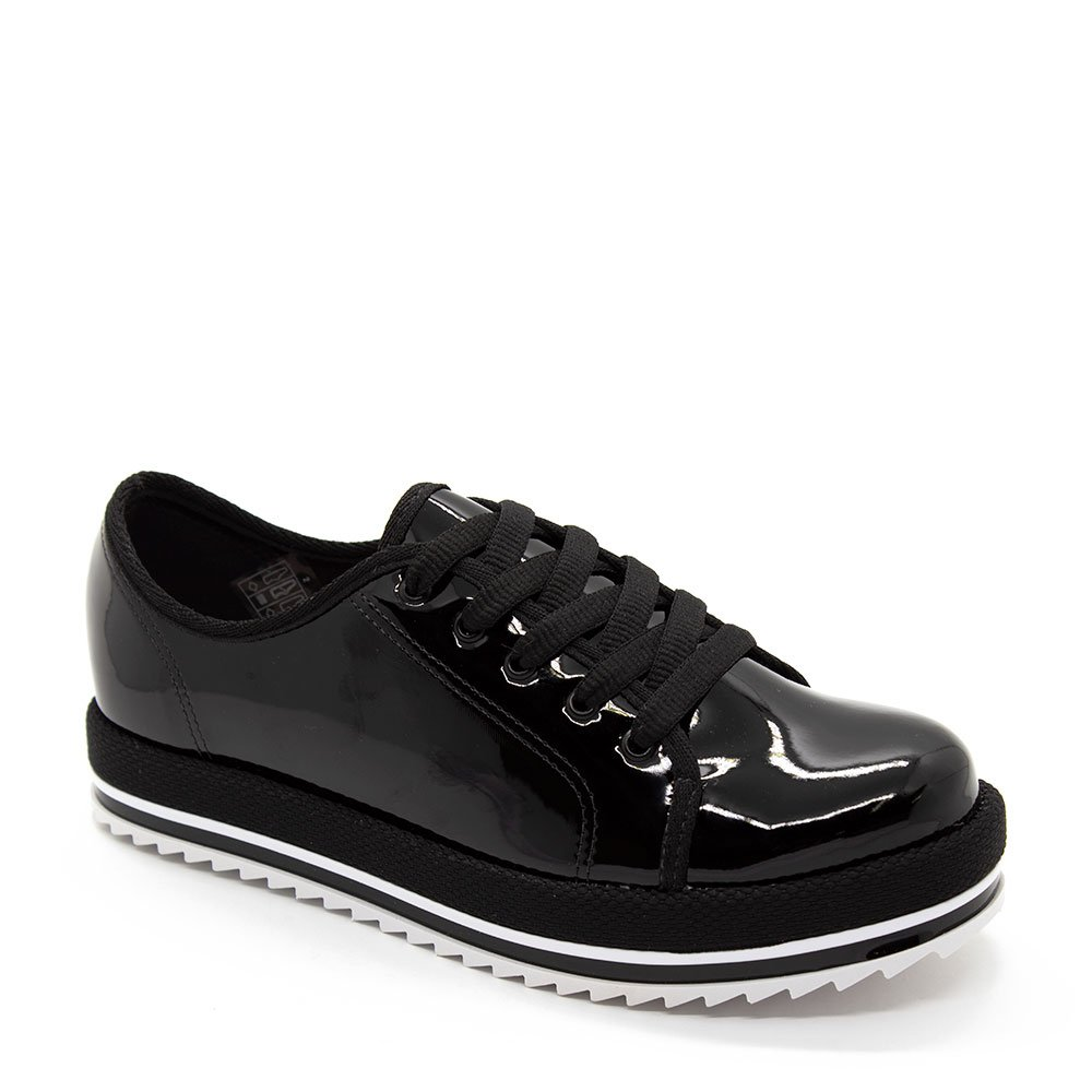 84f55a4fde Sapato Oxford Beira Rio Casual Tratorado Verniz Preto