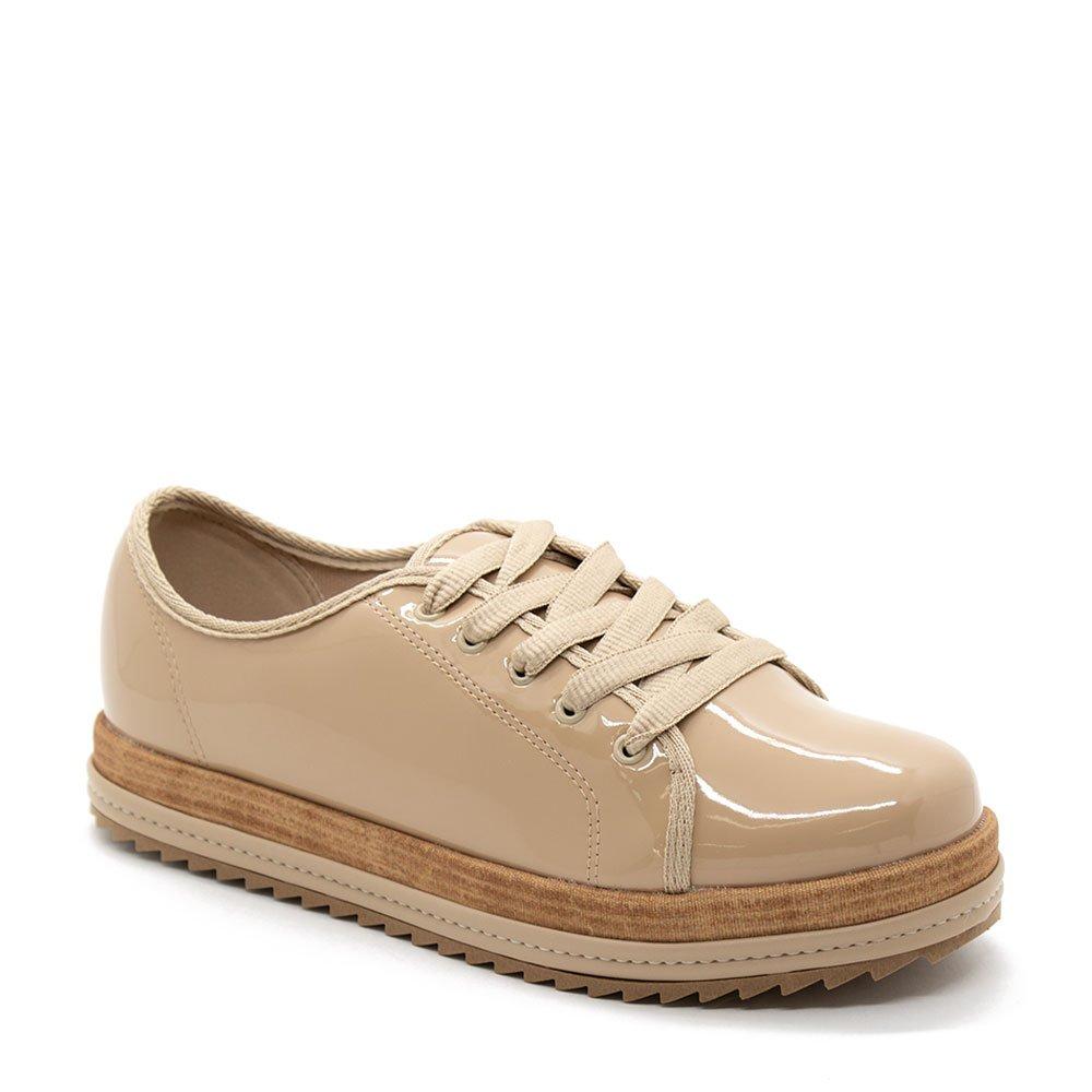 b003c7a606 Sapato Oxford Casual Tratorado Beira Rio Verniz Bege - Zuazen